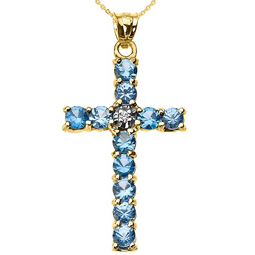Collier Femme Pendentif 14 Ct Or Jaune Diamant et Bleu Clair Oxyde De Zirconium Croix (Livré avec une 45cm Chaîne)