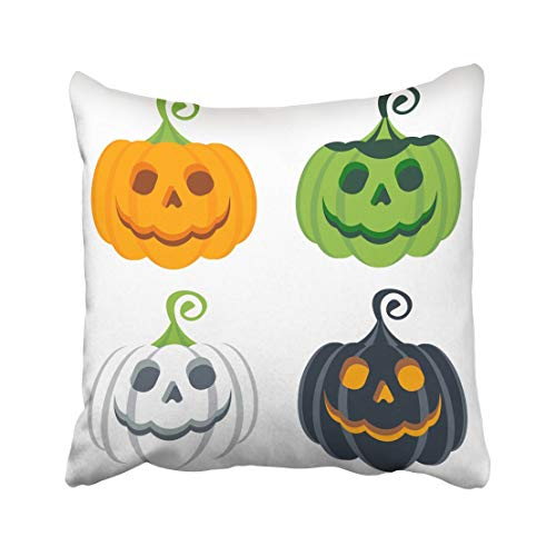 Emvency Orange Costume of Halloween Colored Pumpkins Party Design for and Promotion Flat Cartoon White Ghost Color Throw Pillow Covers 20x20 Inch Decorative Cover Pillowcase Cases Case Two Side