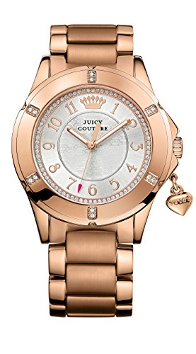 Juicy Girls Heart Couture - Juicy Couture Rich Girl Women's Quartz Watch with Silver Dial Analogue Display and Rose Gold Stainless Steel Bracelet 1901201
