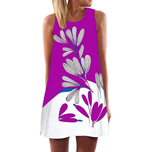 〓Londony〓 Women's Summer Sleeveless Loose Plain Dresses Casual Short Dress Midi Dress Casual Flared Tank Dress Purple