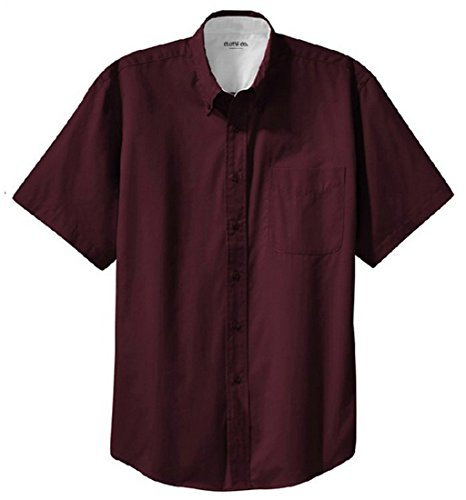 - Clothe Co. Mens Short Sleeve Wrinkle Resistant Easy Care Button Up Shirt, Burgundy/Light Stone, L
