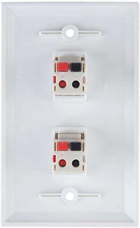 6-Port TENINYU 6 Port Speaker Jack Speaker Module Keystone Single Gang Wall Plate Speaker Wall Plate for Home Theater White