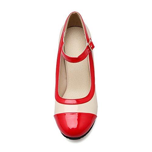 Balamasa Scarpe Da Donna Tacco Grosso In Tinta Unita Con Tacco Alto Fibbia Sul Tallone In Pelle Imitato Pumps-shoes Rosso
