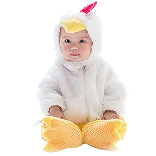 Chicken Baby Costume (3pcs Unisex Baby Halloween Costume Jumpsuit+Hat+Shoes Chicken Style Outfits Suit (66CM, White))