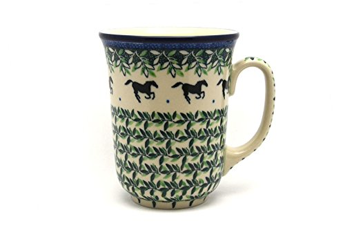 (Polish Pottery Mug - 16 oz. Bistro - Dark Horse)