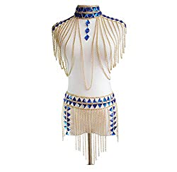 Body Suit With Blue Rhinestones and Gold Chain