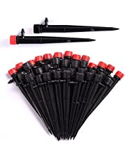 50PCS 1/4 Drip Irrigation Emitters, Adjustable Irrigation Drippers Drip Emitters Sprayer Drip Sprinkler Head with Stake, Perfect for 4/7mm 1/4 Inch Drip Irrigation Tubing, 360 Degree Water Flow Drip Irrigation System (Black & Red)