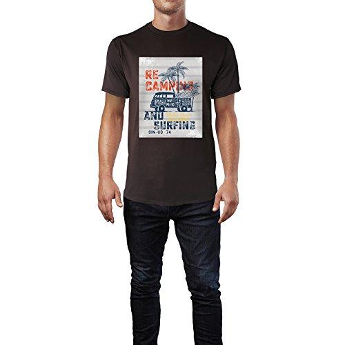 SINUS ART® Recamping and Surfing Herren T-Shirts in Schokolade braun Fun Shirt mit tollen Aufdruck