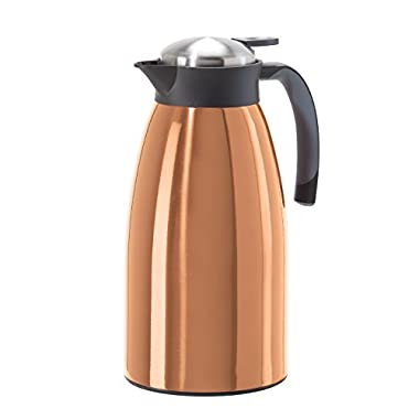 Oggi 68 oz Versa Stainless Thermal Vacuum Hot or Cold Carafe with Press Button Top, Copper