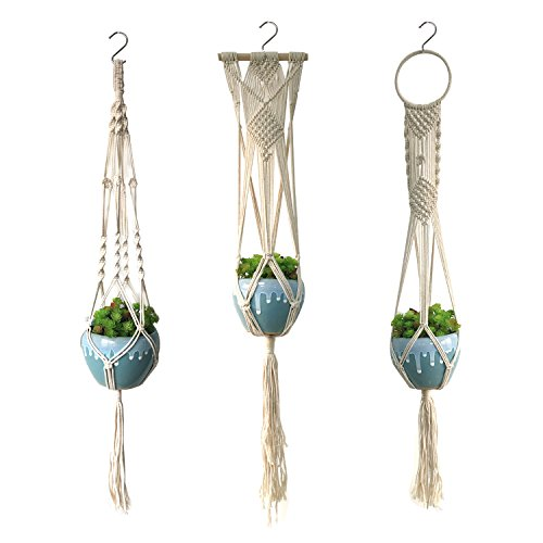 - Wartoon 3PCS Macrame Plant Hanger Indoor Outdoor Hanging Planter Basket Cotton Rope Home Boho Decor Hanging Planter Wall Art 4 Legs 40 Inch