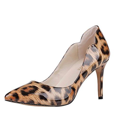 Merumote Donna Zesj Scarpe A Punta Tacco Medio Abito Classico Pompe Per Leopard Balli Di Nozze