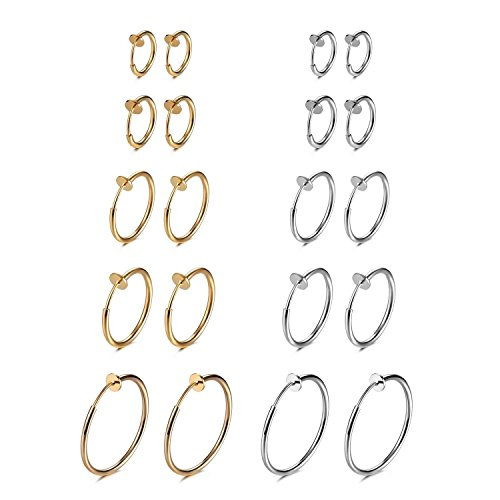 Evevil 10 Pairs Clip On Earrings Fake Earrings Halloween Accessory Costumes Hypoallergenic Non-Piercing Clip On Hoops Earrings, Steel Plated & Gold Plated -