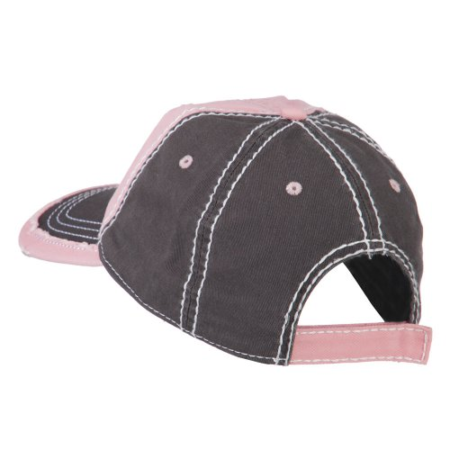 Vintage Washed Cotton Twill Frayed Bill Cap - Pink Charcoal OSFM