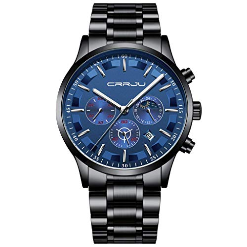 Watch for Men,CRRJU/Kajun Quartz Waterproof New Men's Sports Watch Fashion Business Six Pin Multi Function Chronograph,Men's Watches (Best Male Masterbation Videos)