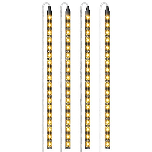 Geeon Orange Yellow LED Srtrip Lights Waterproof 12V for Auto Cars Boats Motorcycle Interior Exterior 12'' 2700K Warm White 3528 SMD Super Bright UL Listed Pack of 4