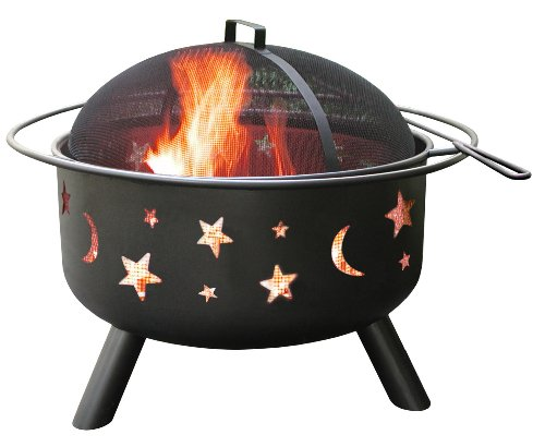 Landmann 28345 Big Sky Stars and Moons Firepit, Black -  - patio, fire-pits-outdoor-fireplaces, outdoor-decor - 41AROolIh3L -