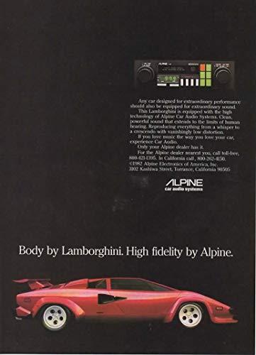 "Magazine Print ad: 1982 Alpine Car Audio Systems with Red Lamborghini Countach,""Body by Lamborghini. High Fidelity by Alpine"""