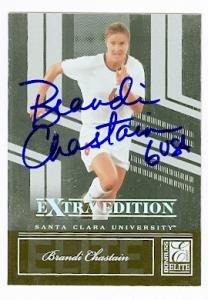 Brandi Chastain autographed Soccer Card (USA Womans Soccer) 2007 Donruss Elite #81