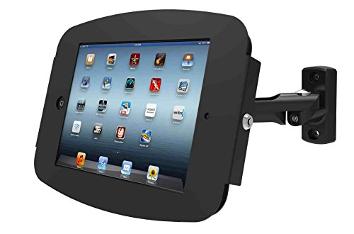 Maclocks 827B224SENB Space Enclosure Stand with Swing Arm Wall Mount for iPad 2/3/4, iPad Air, iPad Air 2, Pro 9.7 (Black) by Compulocks