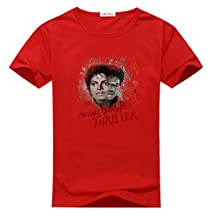 LisaYime Kids Michael Jackson Pattern Red T-shirts Size S(5Y-6Y)