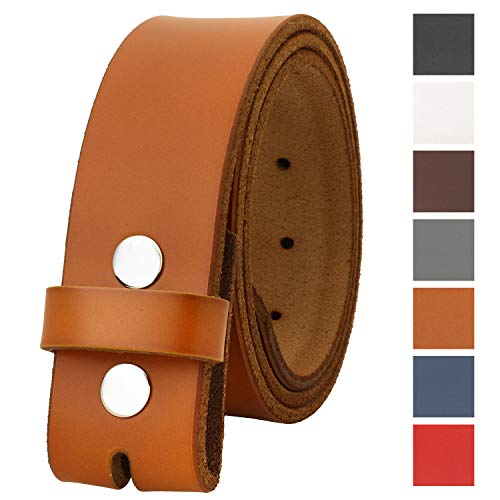 "Falari Replacement Genuine Leather Belt Strap Without Buckle Snap on Strap 1.5"" Wide 8005-LIGHTBROWN-40"