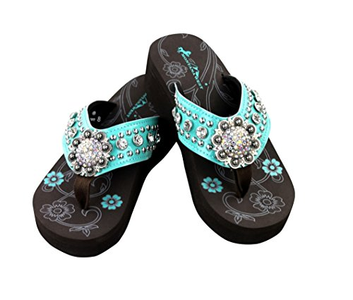 Montana West Bling Bling Collection Flip Flops Silver Flower Shaped Concho Floral Women (6, Turquoise) - Concho Collection