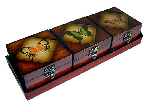 Treasure Chest Rattan (Cheung's FP-2462-4BF Wooden Triple Box Set-Butterfly)