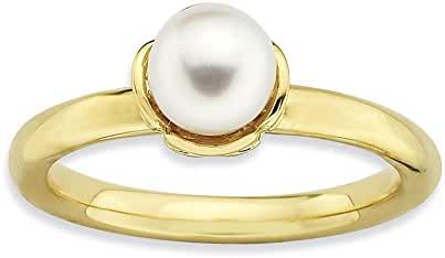 Sterling Silver Stackable Expressions White Freshwater Cultured Pearl 14k Gold-plated Ring