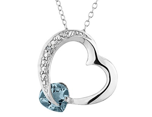 Created Aquamarine Heart Pendant Necklace with Diamond Accent 1.10 Carat (ctw) in Sterling Silver with Chain