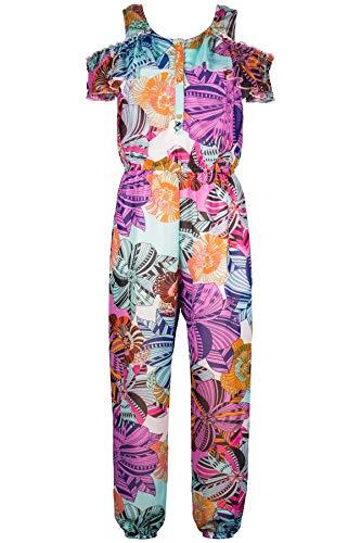 Truly Me, Big Girls' Designer Tropical Floral Printed Spring/Summer Jumpsuit with Ruffle Cold Shoulder Detail, Size 7-16 (Ivory Floral, 12)