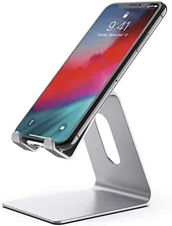 Phone Stand, Z1 Cell Phone Stand Holder, Cradle, Desktop Dock Accessories Compatible with iPhone XR XS X 8 7 6s 6 and Plus, 5s 5, Samsung, LG, and All Smartphones (Silver)
