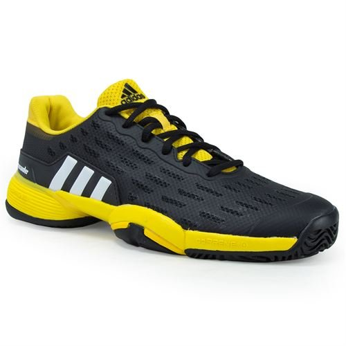 Barricade 2 Tennis Shoe - adidas Originals Boys' Barricade Xj Tennis Shoe, Black/White/Equipment Yellow, 2 Medium US Big Kid