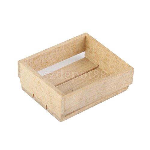 Acc Basket (1/12 Scale Miniature Wooden Basket Box for Dollhouse Kitchen Furniture ACCS)
