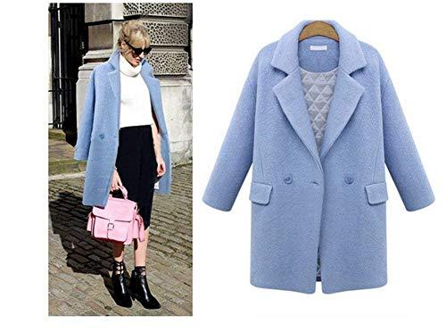 Tasche Tasche Button Donna Blau Trench Giaccone Invernali Elegante Cardigan Semplice Glamorous Bavero Manica con Moda Monocromo Lunga Coat Caldo di grqrYwCv