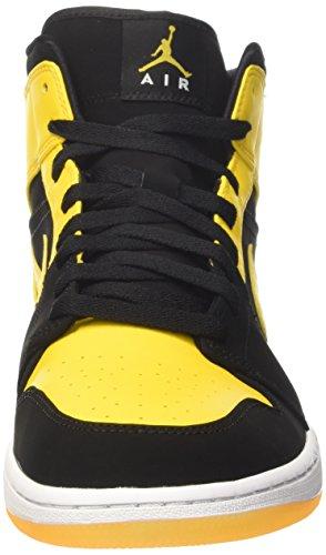 Nike Herren Air Jordan 1 Mid Basketballschuhe Schwarz (Schwarz/varsity Maize/ Weiss)