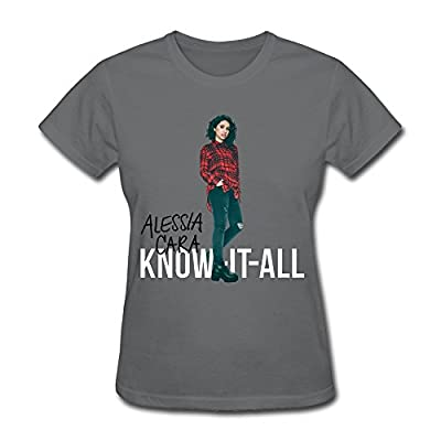 LOHUIOI Women's Know It All Alessia Cara T-shirt Size L DeepHeather