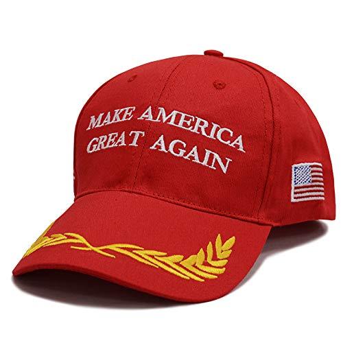 Make America Great Again Donald Trump USA Cap Adjustable Baseball Hat (Red Olive Branch) ()