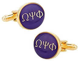 Omega Psi Phi Purple Gold-Tone Cufflinks by Cuff-Daddy