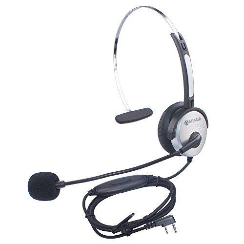 Arama PTT MIC Headphone Headset w/ Adjustable Band for Baofeng UV-5R BF-480 666S Kenwood TK-208 TK-220 TK-240 KPG27D TH-D7 Radios.