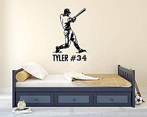 Etiqueta De La Pared Calcomania Jugador De Beisbol De La Pared Decoracion Diseno Infiltrado Nombre Habitacion Cartel Mural Extraible 57X89cm