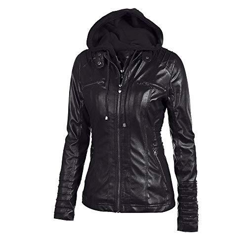 Slim Winter Coat Hooded Black Women Classic Overcoat Jacket Zipper Tunic Casual Warm Lapel Outerwear Removable Autumn Jersh Women 1Aw00t