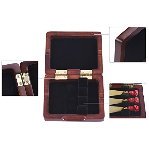 Bassoon Reed Case,Wooden Bassoon Reed Box Maroon Hand Carved for 3pcs Reeds by ammoon (Image #2)