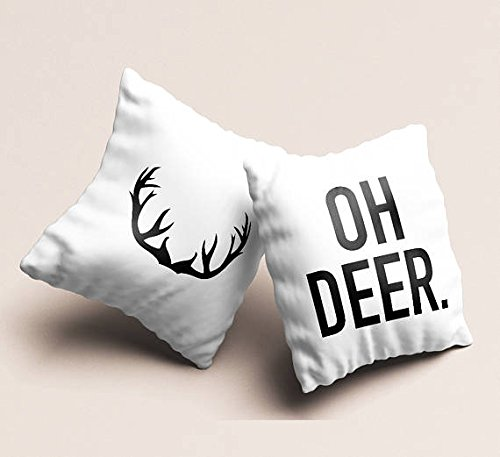 2016 Cute Ideas Couple For Costumes (Set of 2 Deer Throw Pillow Gift ideas Fun Winter Pillowcases Fire Place Glider Cushion Cover Guesthouse Christmas Decorative Pillow Unique Gift Christmas Gift for)
