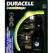Duracell 3 in 1 Car Charger+Lightning cable+Micro usb cable, For Andorid devices, Apple products,Charge Device via wall outlet, car cigarette lighter adapter, or USB port
