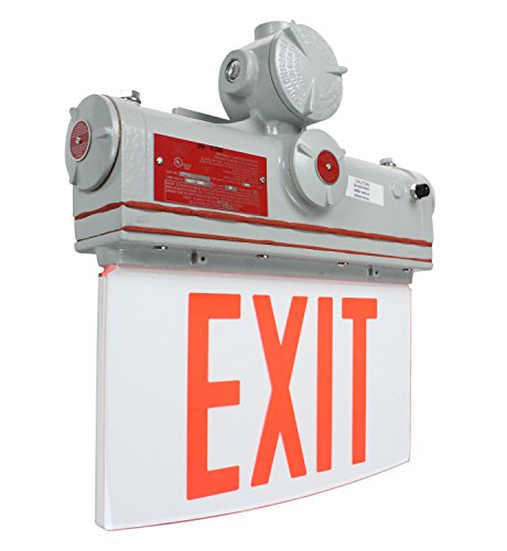 Explosion Proof Exit Signs - Explosion Proof Exit Sign - Class I, Division I - IP65 - 120V/277VAC - Emergency Battery Back-Up(-Wall-Red)