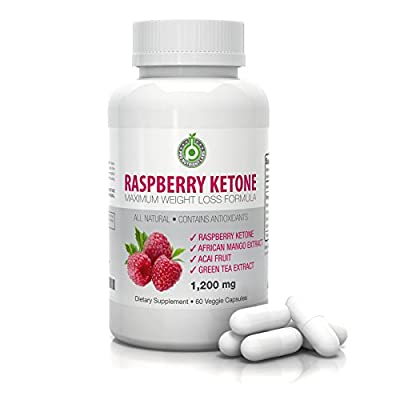 Pure Raspberry Ketones - 1200mg per serving - 60 Vegetarian Capsules with Green Tea Extract, Acai Fruit & African Mango - All Natural Fat Burning Supplement for Weight Loss - Satisfaction Guarantee