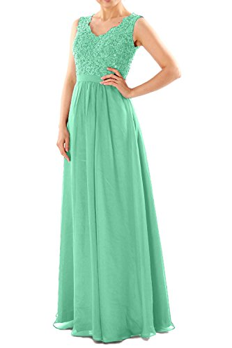 MACloth Women V Neck Lace Chiffon Long Prom Dresses Formal Party Evening Gown Menta