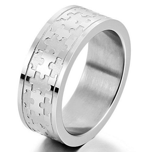 INBLUE Men's Stainless Steel Ring Band Silver Tone Jigsaw Puzzle Size10 (Jig Saw Costume)