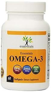 Essentials Fish Oil Omega 3 Norwegian Fish Oil 2000mg Omega 3 Fatty Acids 800mg EPA 400mg DHA 100% Money Back Guarantee Fish Oil Supplements