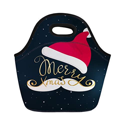 (Semtomn Neoprene Lunch Tote Bag Merry Christmas Golden Lettering Inscription Swirls on Santa Mustache Reusable Cooler Bags Insulated Thermal Picnic Handbag for Travel,School,Outdoors,Work)